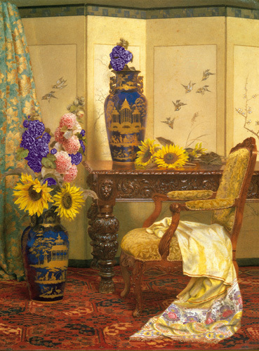 Sunflowers and Hollyhocks by Kate Hayllar