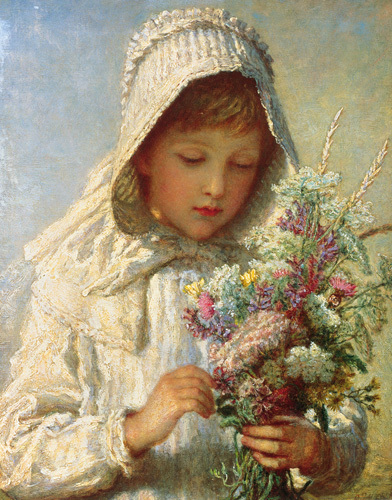 The Month Of September - A Young Girl In White by Carl Wilhelm Friedrich Bauerle