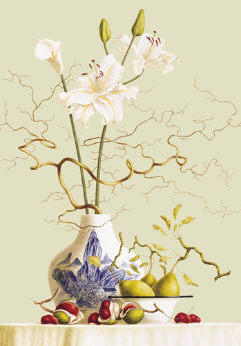 Still life with chinese vase and flowers by Ruud Verkerk