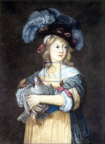 Girl with a hen by Anonymous