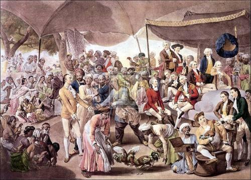 Colonel Mordaunts's Cock Match by Johann Zoffany