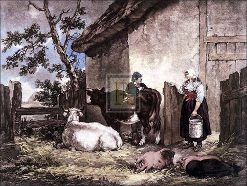 The milkmaid and cowherd by George Morland
