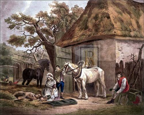 Feeding the pigs (large) by George Morland