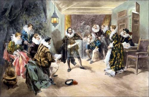 Shakespeare reciting his 'hamlet' by Vincet de Paredes