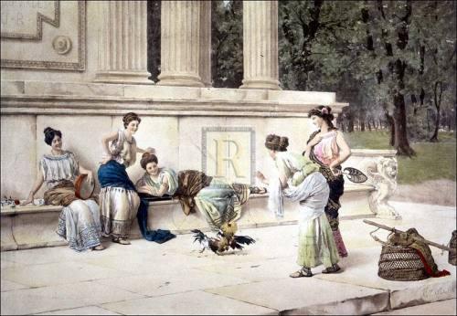 A cockfight by Giuseppe Zocchi