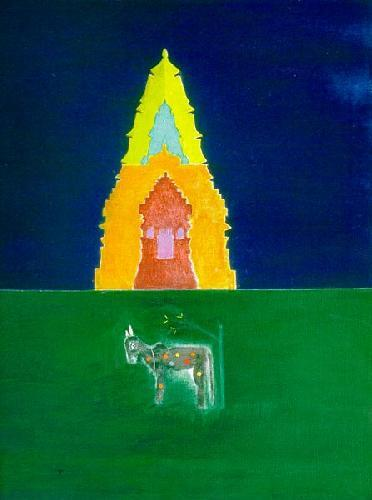 Nandi Bull in Front of Temple II by Craigie Aitchison