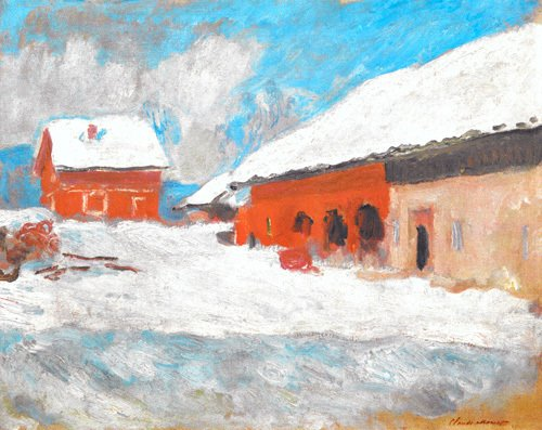 Les maisons rouges a Bjoernegaard, Norvege, 1895 by Claude Monet