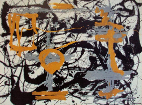 Yellow, Gray, Black 1948 (Silkscreen print) by Jackson Pollock
