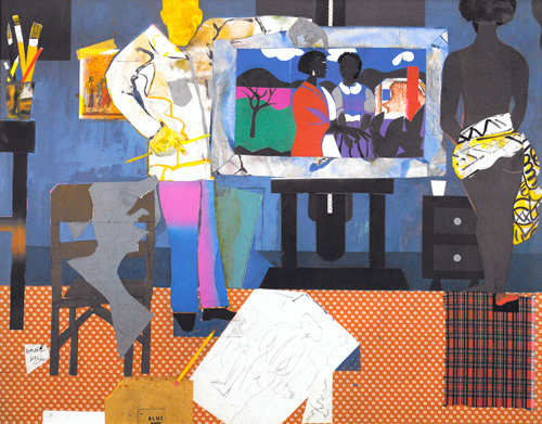 Part II, The Thirties: Artist with Painting by Romare Bearden