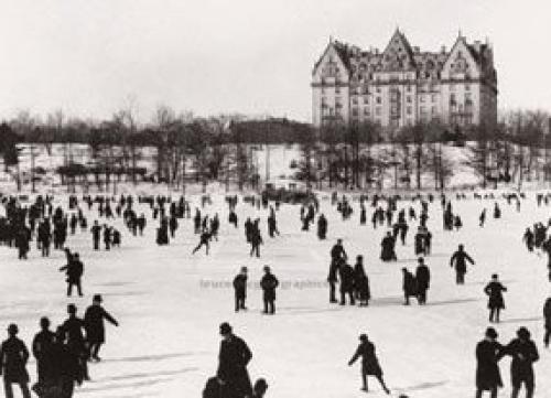 Skating in Central Park, 1890 by J.S. Johnston
