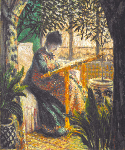 Madame Monet Embroidering, 1875 by Claude Monet