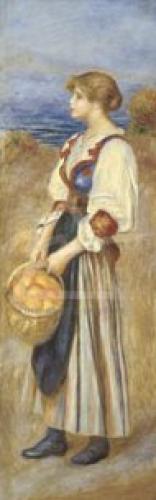 Girl with basket orange by Pierre Auguste Renoir