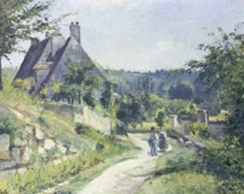 Conversation, chemin du chou, Pontoise, 1874 by Camille Pissarro
