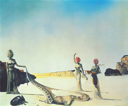 Three Young Surrealist Women Holding in their Arms by Salvador Dali