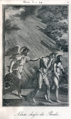 Bible, Adam and Eve being banished from Paradise, Garden of Eden by Anonymous