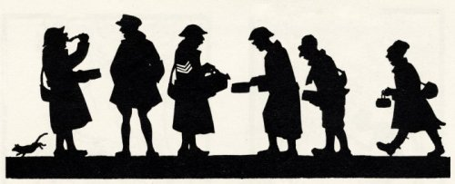 Silhouette of British soldiers or 'Tommies' by Harry Lawrence Oakley
