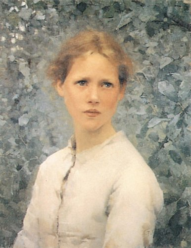 A Girls Head by George Clausen