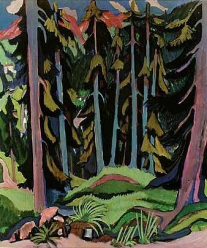 Forest with brook by Ernst Ludwig Kirchner
