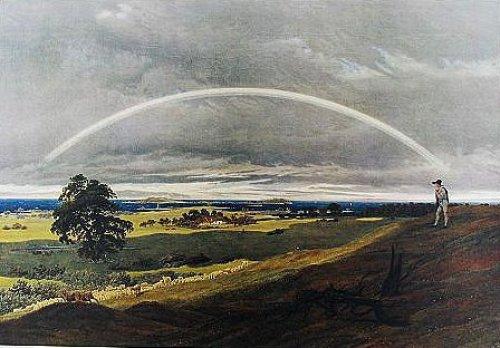 Landschaft mit Regenbogen by Caspar David Friedrich