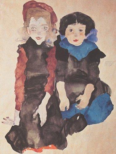 Zwei kleine Mädchen by Egon Schiele