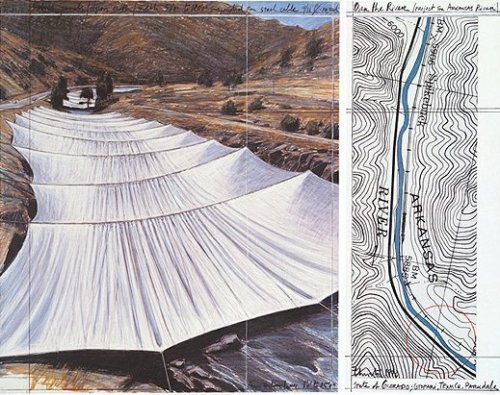 Over the River VII Above by Javacheff Christo