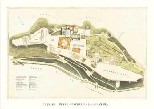 Granada - Alhambra Lageplan by Architekturplakate