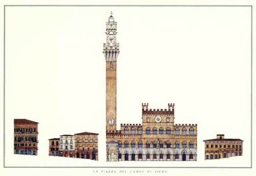 Siena - La Piazza del Campo di Siena by Architekturplakate