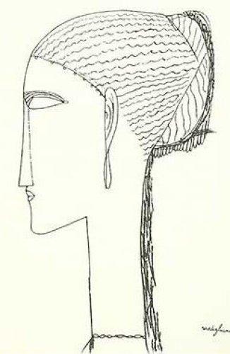 Female Head with Earring by Amedeo Modigliani