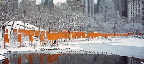 The Gates Skyline im Schnee, Druck by Javacheff Christo
