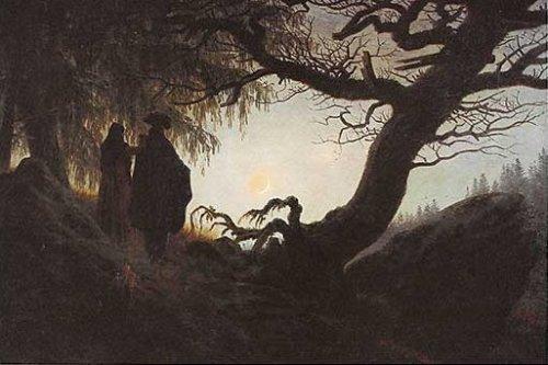 Frau und Mann betrachten den Mond by Caspar David Friedrich