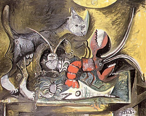 Still Life, Cat and Lobster by Pablo Picasso