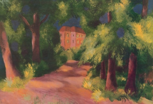 Rotes Haus im Park by August Macke