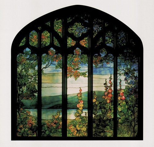 Landscape with Hollyhocks by Louis Comfort Tiffany