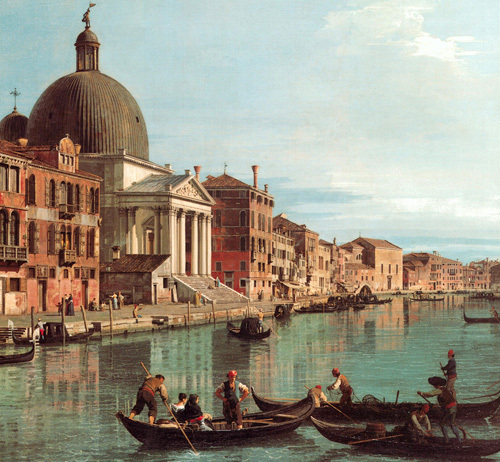 Venice: The Upper Reaches of the Grand Canal with S. Simeone Piccolo, c. 1738 (detail) by Giovanni Canaletto