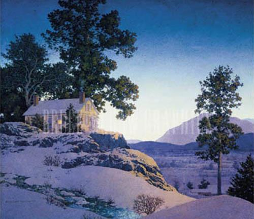 Evening (Winterscape) by Maxfield Parrish