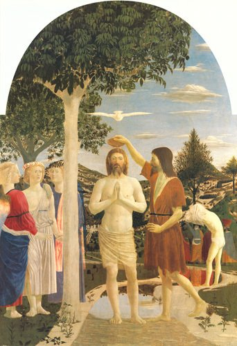 The Baptism of Christ, 1450 by Piero Della Francesca