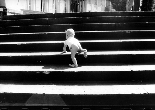 Baby climbing large flight of steps by Martina & Steffen Giersch