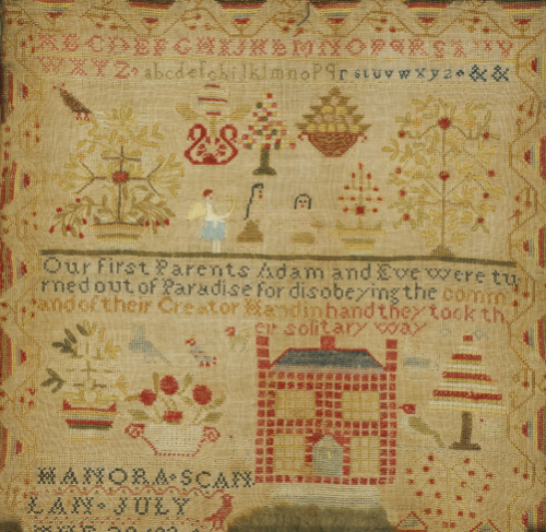 Silk On Linen Needlework Sampler, Mid-Atlantic States by Hannah Scanlon