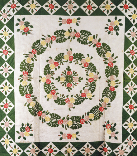 A Pieced And Appliqued Cotton Quilted Coverlet, South Carolina by Christie's Images