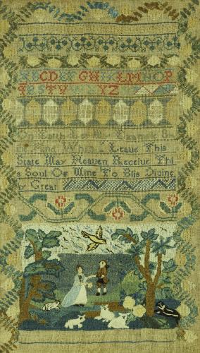 A Rare Needlework Sampler By Sarah Doubt, Massachussetts, 1765, by Sarah Doubt