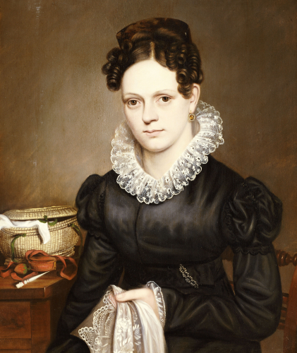 Portrait Of A Lady With A Sewing Basket by American School