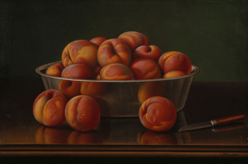 Still Life Of Peaches In A Silver Bowl by Levi Wells Prentice