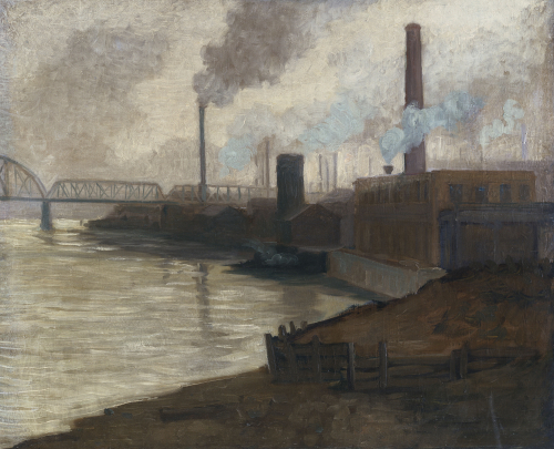 Industrial Scene - Mills On The Monongahela by Aaron Henry Gorson