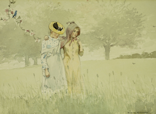 Girls Strolling In An Orchard by Winslow Homer