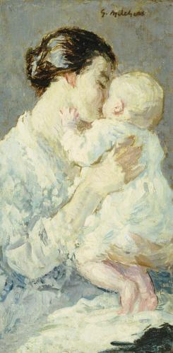 Julia Payne And Her Son Ivan by Julius Gari Melchers