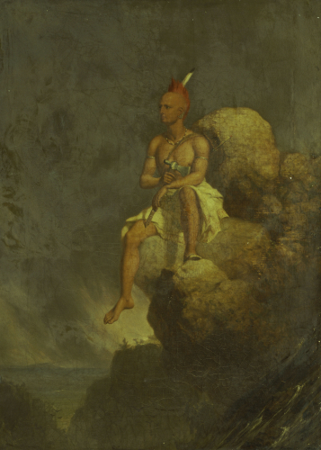 Indian Warrior On The Edge Of A Precipice by Charles Deas
