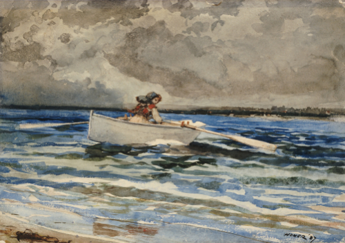 Rowing At Prout's Neck, 1887. by Winslow Homer