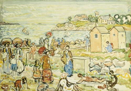 Bathers And Strollers At Marblehead by Maurice Prendergast