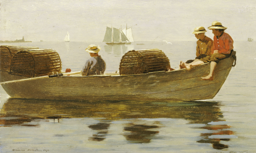 Three Boys In A Dory, 1873. by Winslow Homer