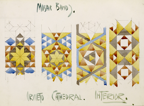 Orvieto Cathedral, A Sheet of Studies of Mosaic Bands by Charles Rennie Mackintosh